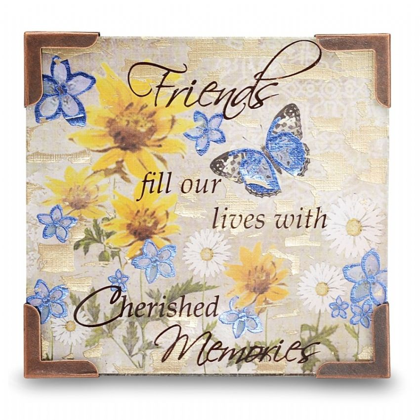 Friends Fill Our Lives With Cherished Memories - Bonita Glass Plaque / Fridge Magnet